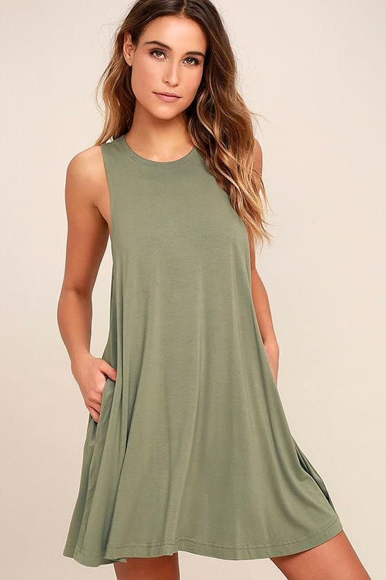 78ae406276f9 RVCA Sucker Punch 2 Dress - Swing Dress - Olive Green Dress ...