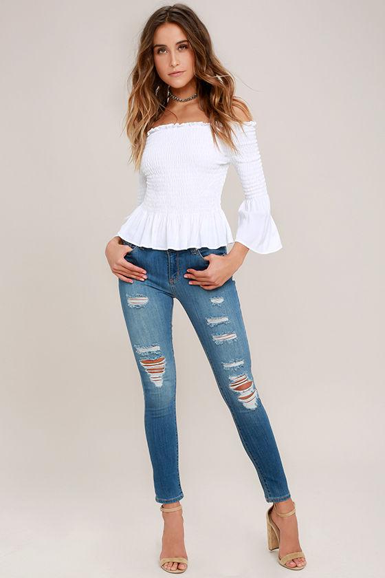 Jean-ius Idea Medium Wash Distressed High-Waisted Skinny Jeans 1