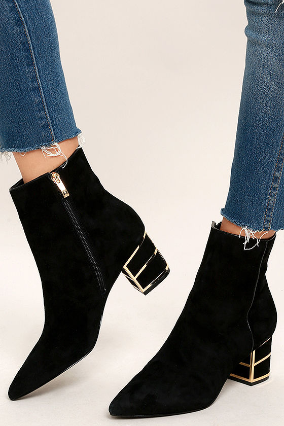 Steven by Steve Madden Bailei Black Suede Leather Booties 2