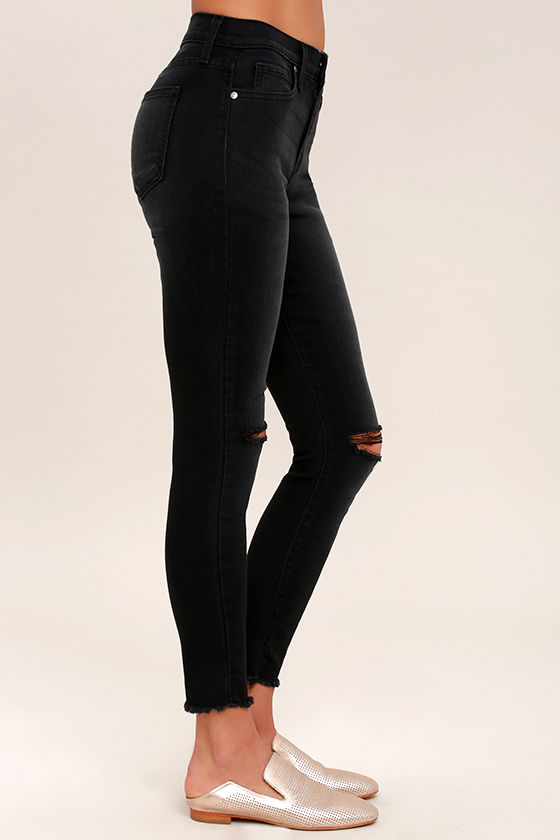 Who Loves You Washed Black Distressed Skinny Jeans 3