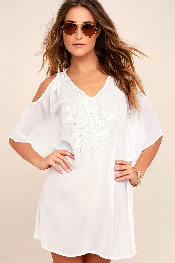 2d5080f627 Beach Cover Up - White Cover-Up - Beaded Cover-Up - Swim Cover-Up - $88.00