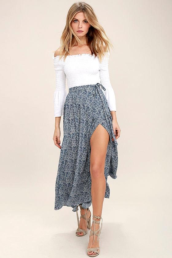 Lovely Navy Blue Skirt - Print Skirt - Wrap Skirt - Maxi Skirt ...