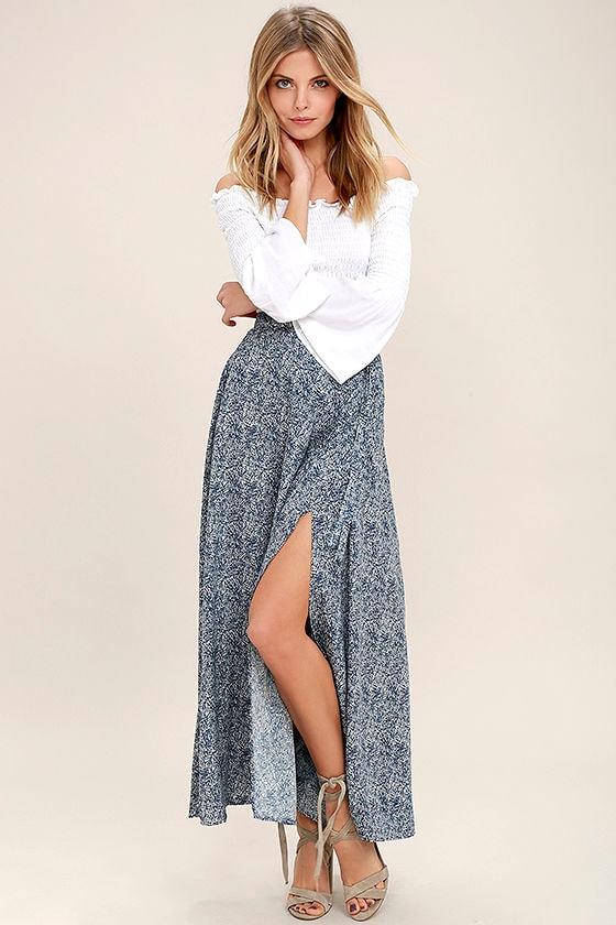 15d282d9be Lovely Navy Blue Skirt - Print Skirt - Wrap Maxi Skirt