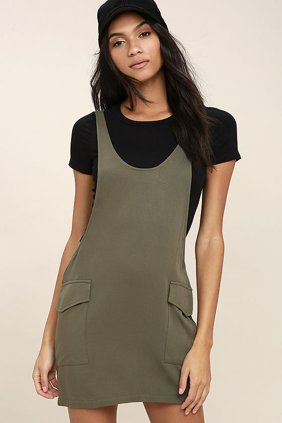 Old Fashioned Olive Green Pinafore Dress 1