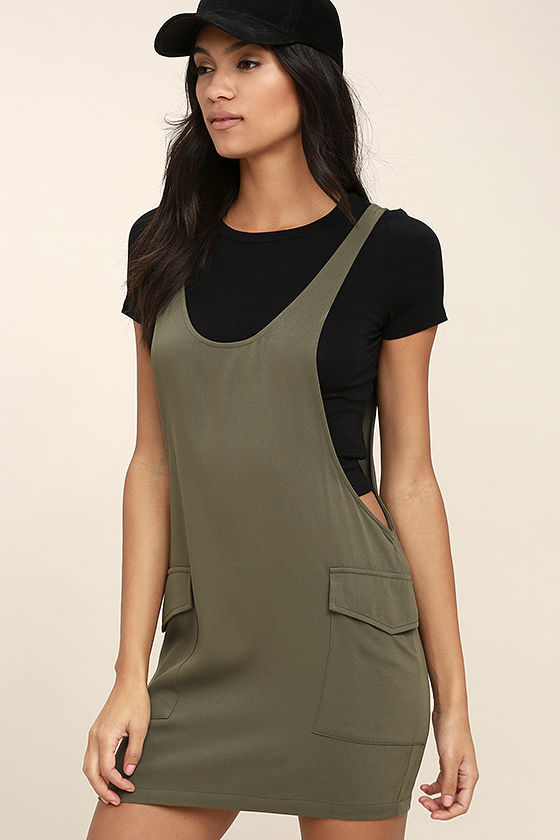 Old Fashioned Olive Green Pinafore Dress 3