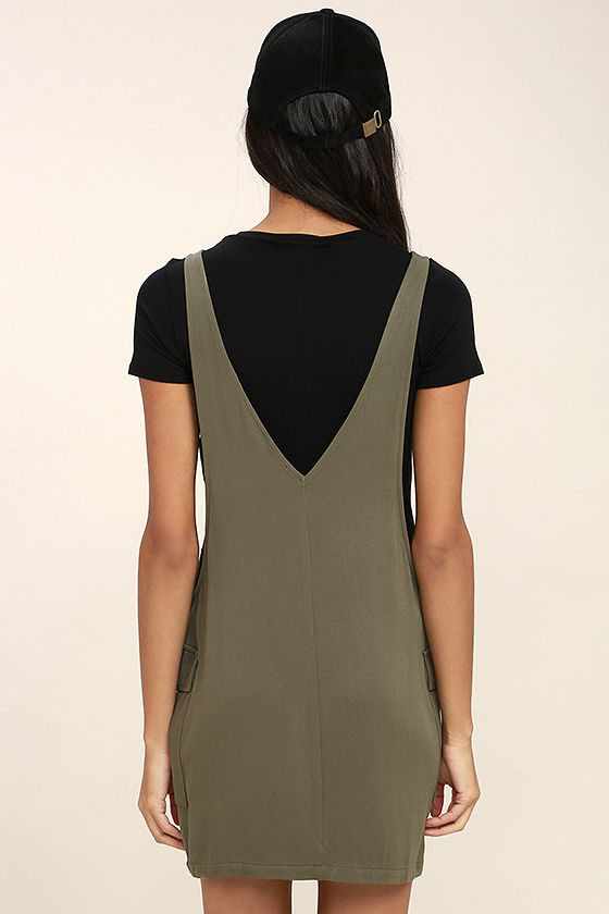 Old Fashioned Olive Green Pinafore Dress 4