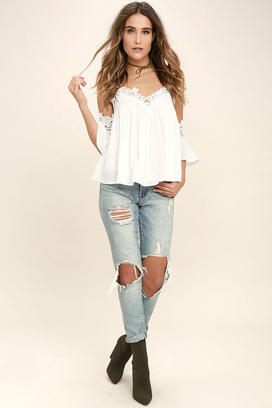 Daily Devotion White Lace Off-the-Shoulder Top 2