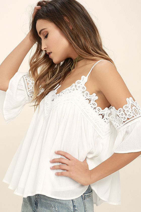 Daily Devotion White Lace Off-the-Shoulder Top 3