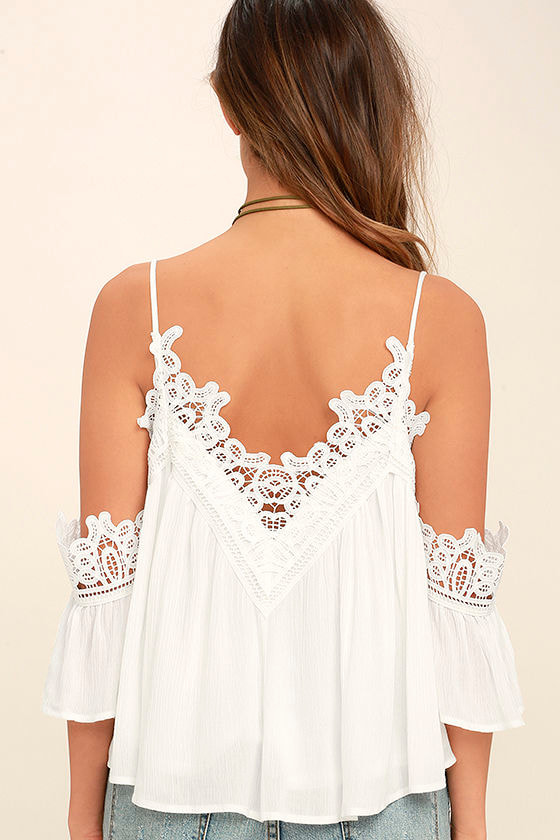 Daily Devotion White Lace Off-the-Shoulder Top 4