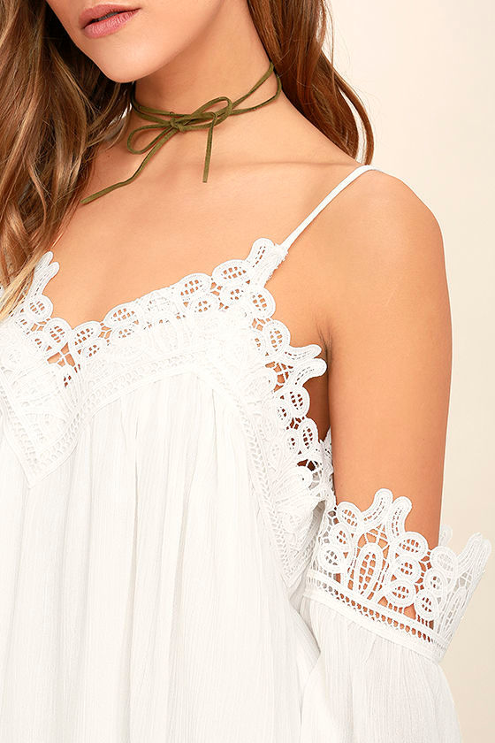 Daily Devotion White Lace Off-the-Shoulder Top 5