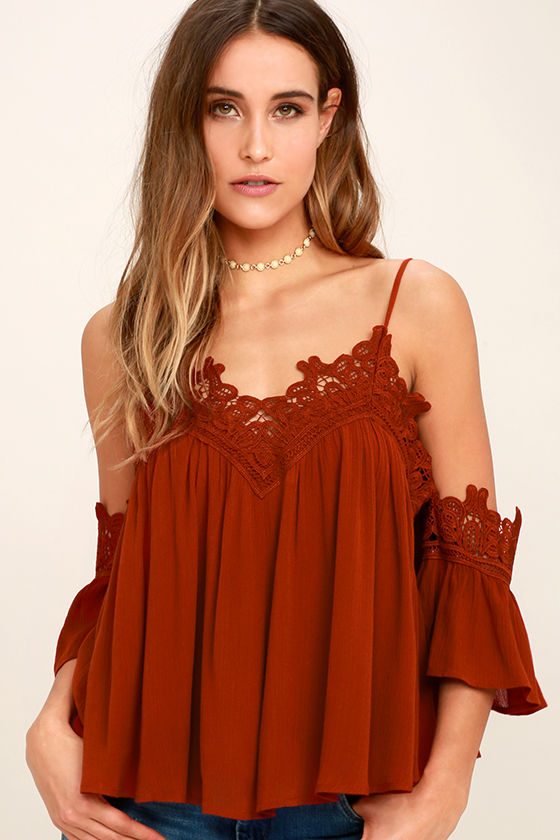Daily Devotion Rust Red Lace Off-the-Shoulder Top 1