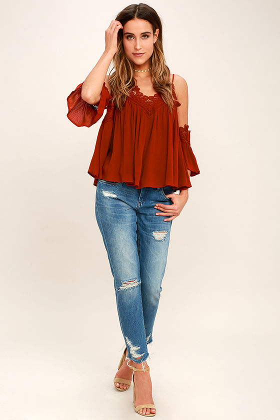 Daily Devotion Rust Red Lace Off-the-Shoulder Top 2