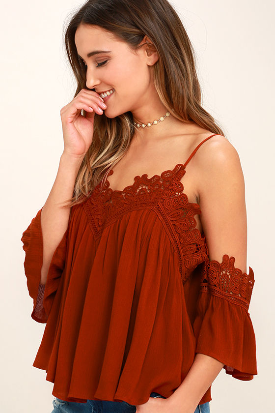 Daily Devotion Rust Red Lace Off-the-Shoulder Top 3