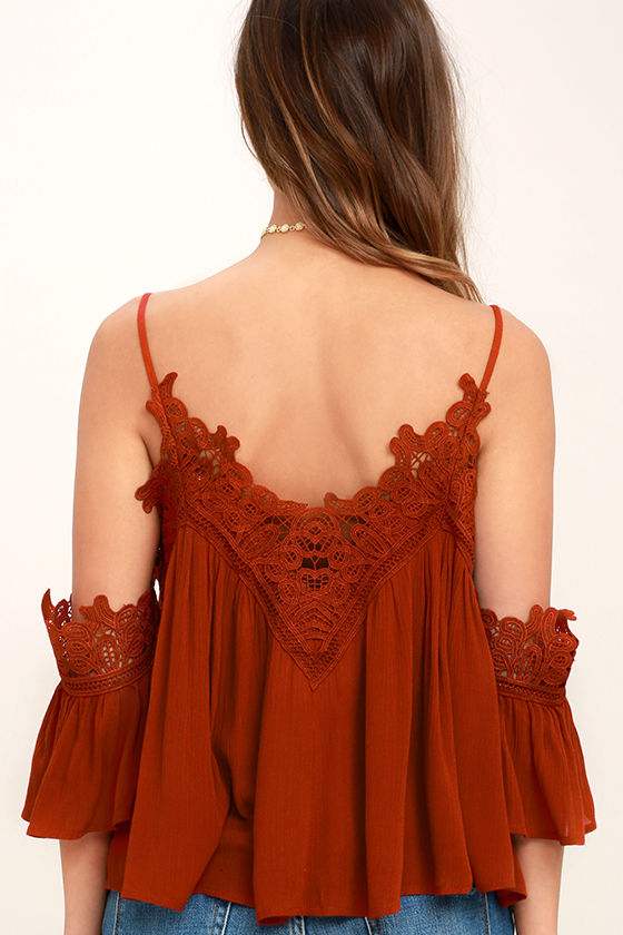 Daily Devotion Rust Red Lace Off-the-Shoulder Top 4
