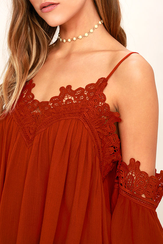 Daily Devotion Rust Red Lace Off-the-Shoulder Top 5
