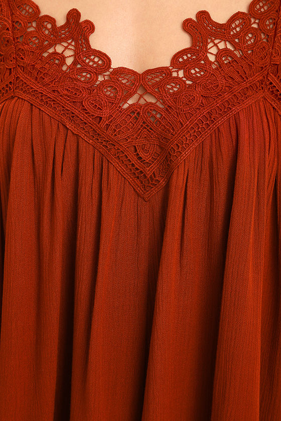 Daily Devotion Rust Red Lace Off-the-Shoulder Top 6