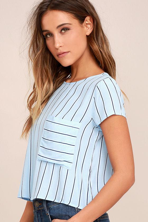 5871f648a Cute Light Blue Crop Top - Short Sleeve Crop Top - Striped Crop Top -  32.00