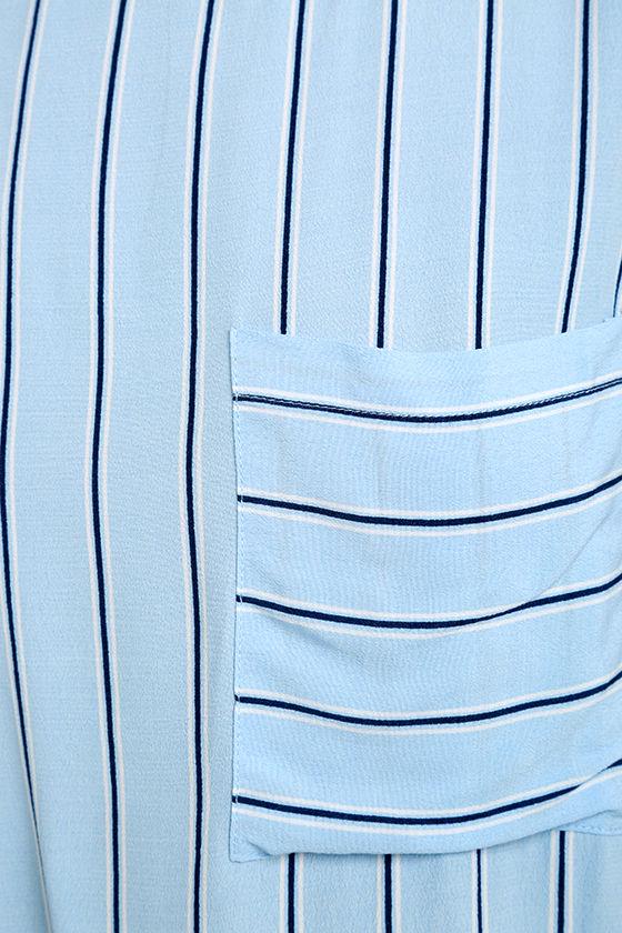Love at Last Light Blue Striped Crop Top 6