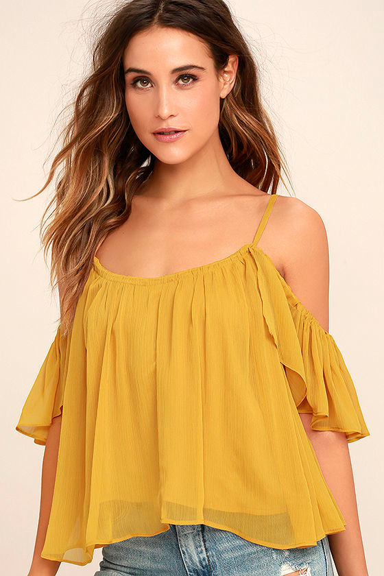 Got Me Moving Golden Yellow Off-the-Shoulder Top 1