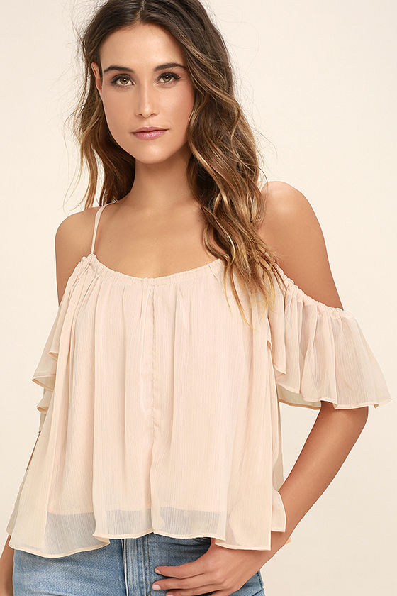 Got Me Moving Blush Pink Off-the-Shoulder Top 1