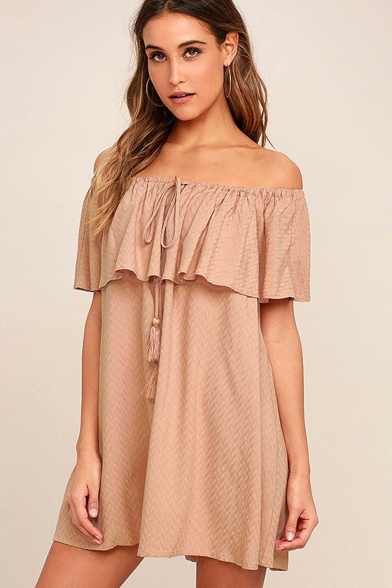 bfe90802e572 Chic Blush Dress - Off-the-Shoulder Dress - Pink Shift Dress - $64.00