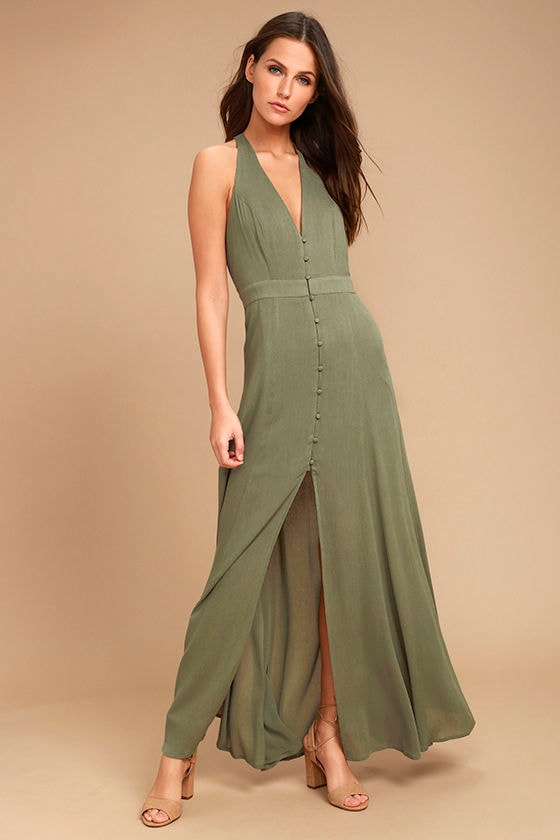 Lingering Thoughts Olive Green Halter Maxi Dress 1
