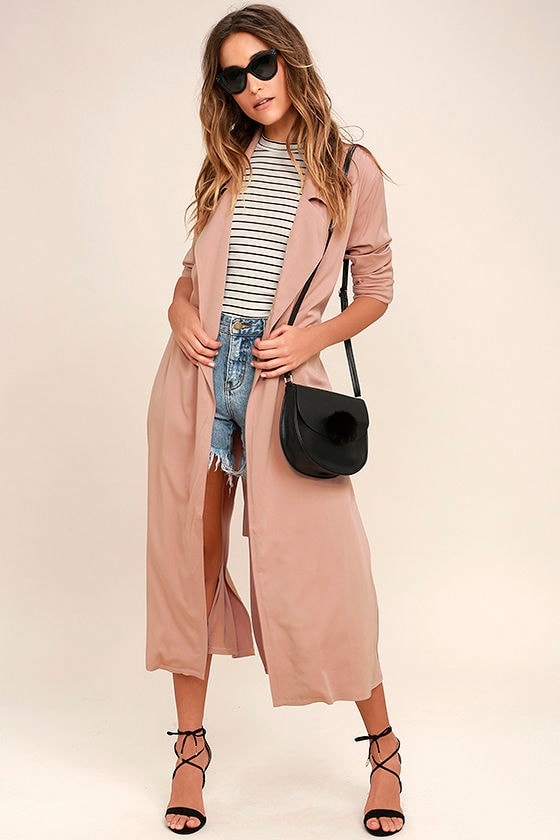 Cool Blush Pink Coat - Trench Coat - Belted Coat - $82.00