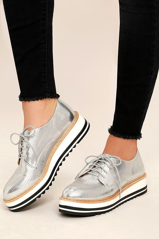 Silver Platform Tennis Shoes