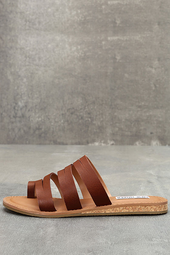 Steve Madden Hestur Cognac Leather Sandals 1
