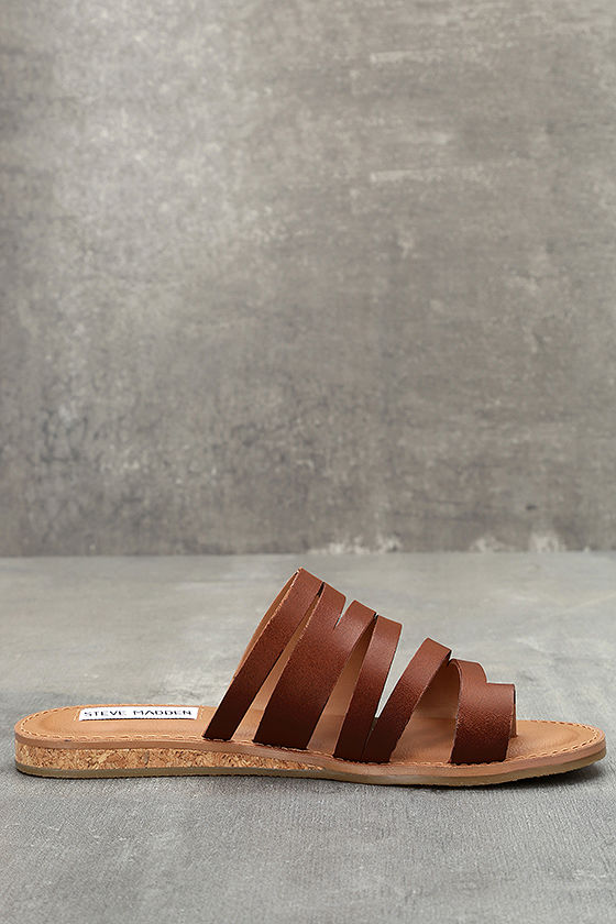 Steve Madden Hestur Cognac Leather Sandals 3
