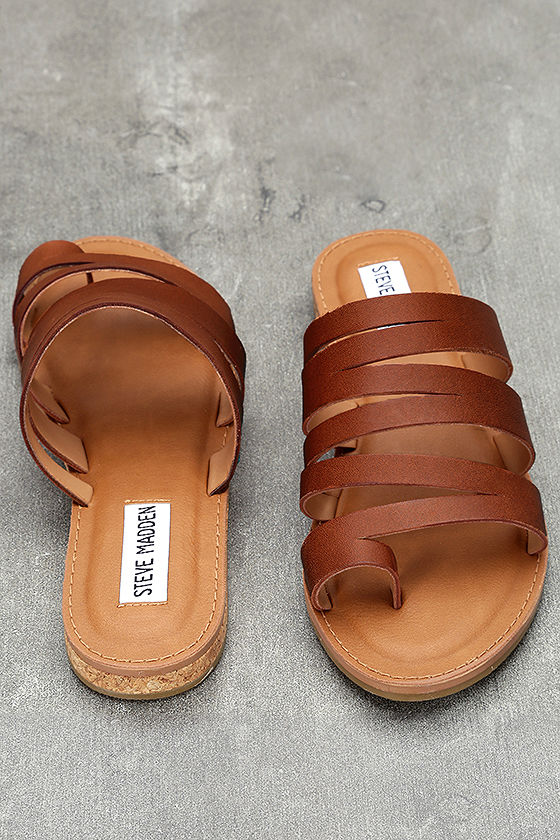 Steve Madden Hestur Cognac Leather Sandals 4