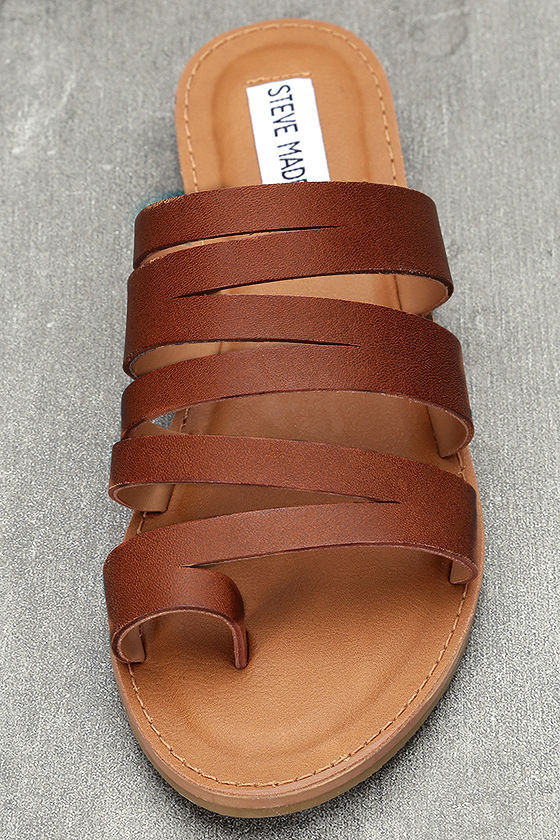 Steve Madden Hestur Cognac Leather Sandals 5