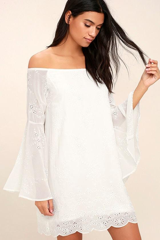 Lovely White Dress - Embroidered Dress - Off-the-Shoulder Dress ...