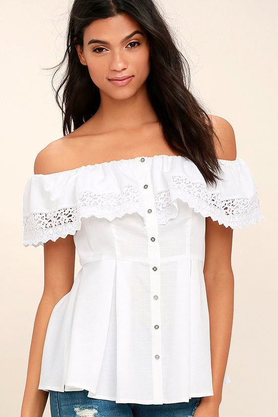 03b492fde98a77 Lovely White Top - Off-the-Shoulder Top - Lace Top - Peplum Top - $42.00