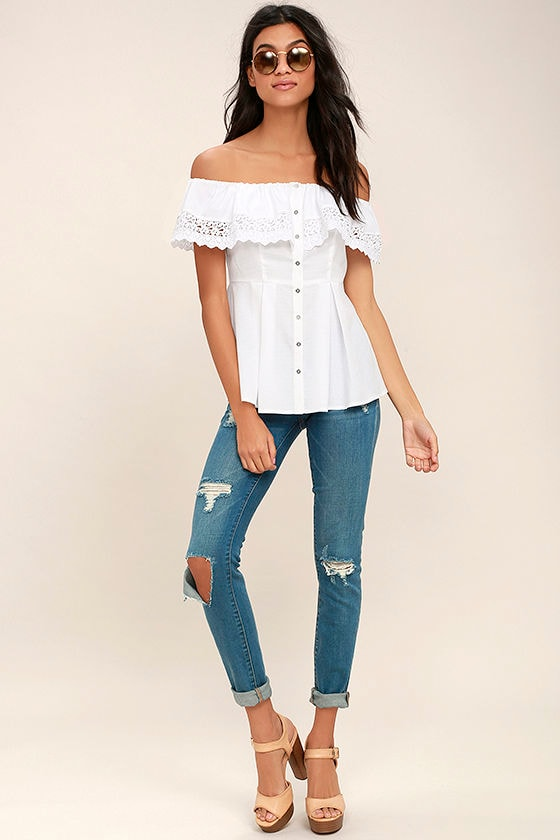 Sweet Day White Lace Off-the-Shoulder Top 2