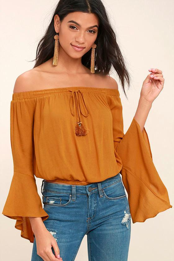b969836229a2aa Fun Burnt Orange Top - Off-the-Shoulder Top - Bell Sleeve Top - Crop Top -   36.00