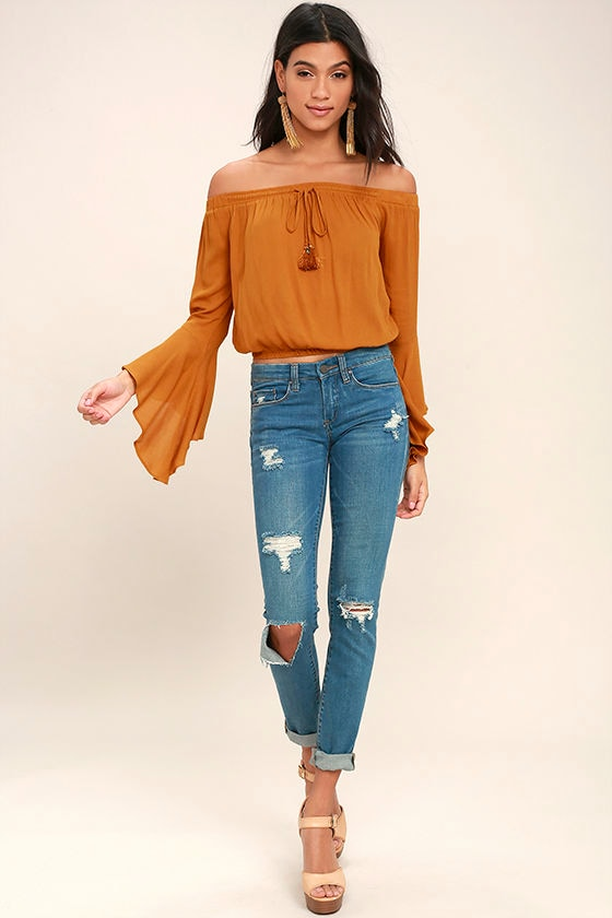 1a9cdebc9c6 Fun Burnt Orange Top - Off-the-Shoulder Top - Bell Sleeve Top - Crop ...