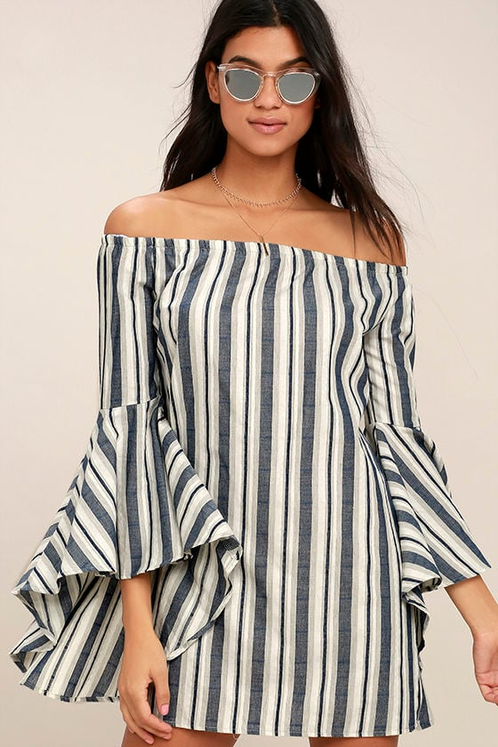 Along the Tides Navy Blue Striped Off-the-Shoulder Dress 1