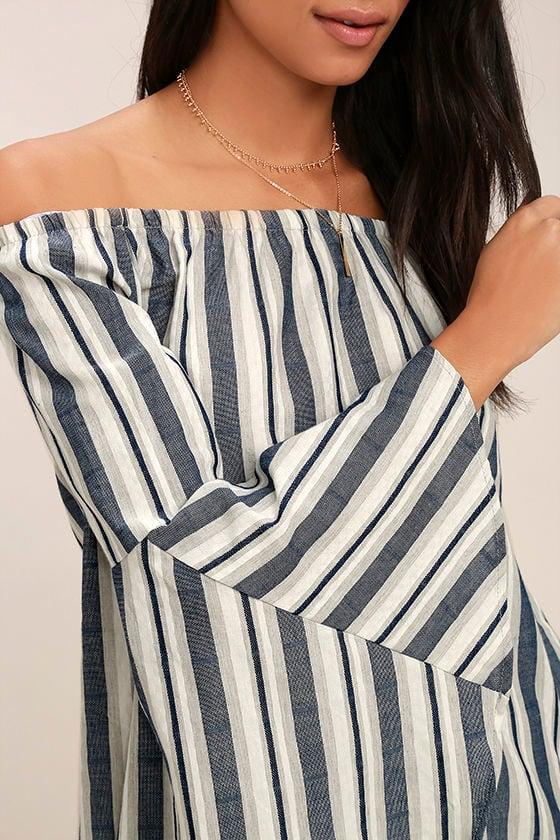 Along the Tides Navy Blue Striped Off-the-Shoulder Dress 6