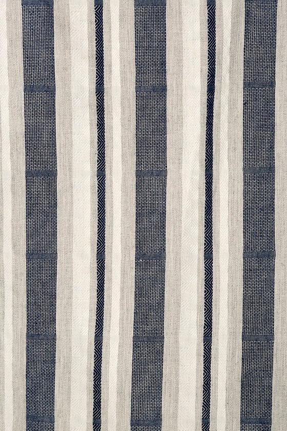 Along the Tides Navy Blue Striped Off-the-Shoulder Dress 7