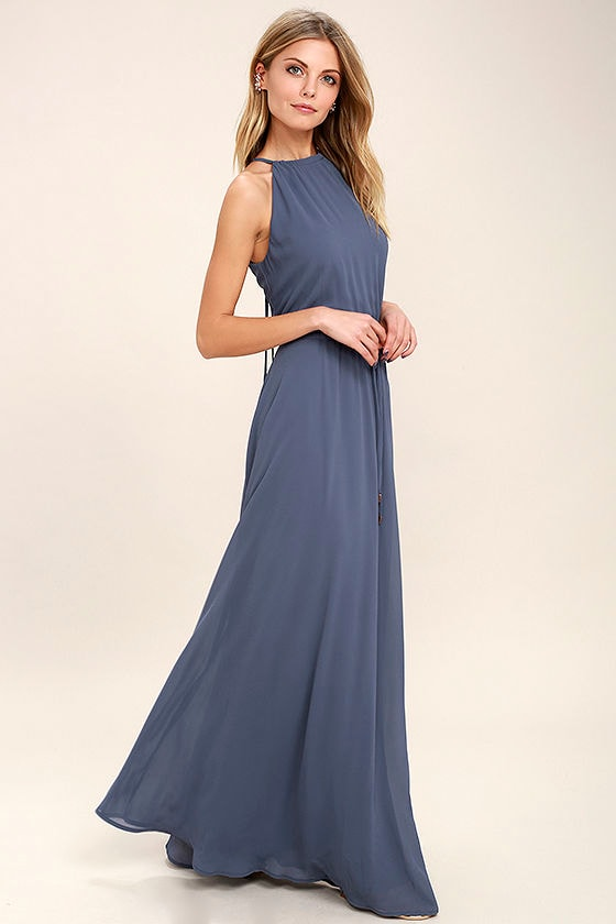 1df9151438eb1 Lovely Denim Blue Dress - Maxi Dress - Sleeveless Dress - $86.00