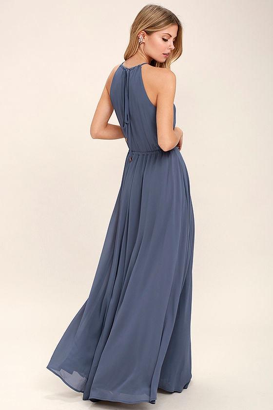 Lovely Denim Blue Dress - Maxi Dress - Sleeveless Dress ... - photo #6