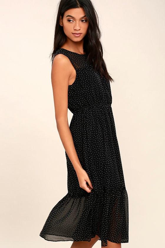 Afternoon Stroll Black Polka Dot Midi Dress 3