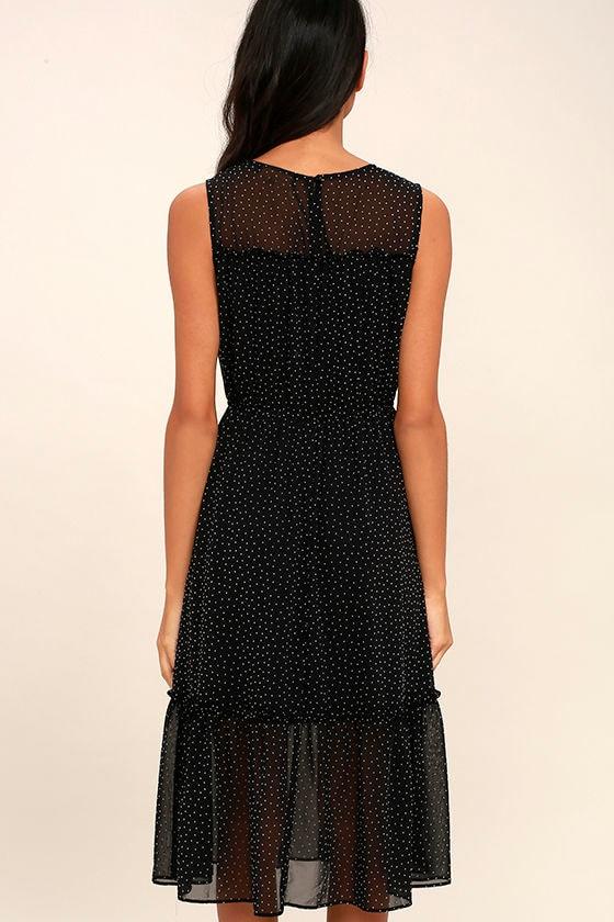Afternoon Stroll Black Polka Dot Midi Dress 4