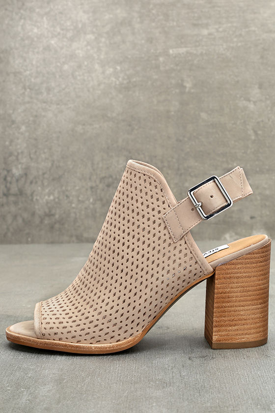 Steve Madden Neptune Ice Taupe Nubuck Leather Cutout Booties 1