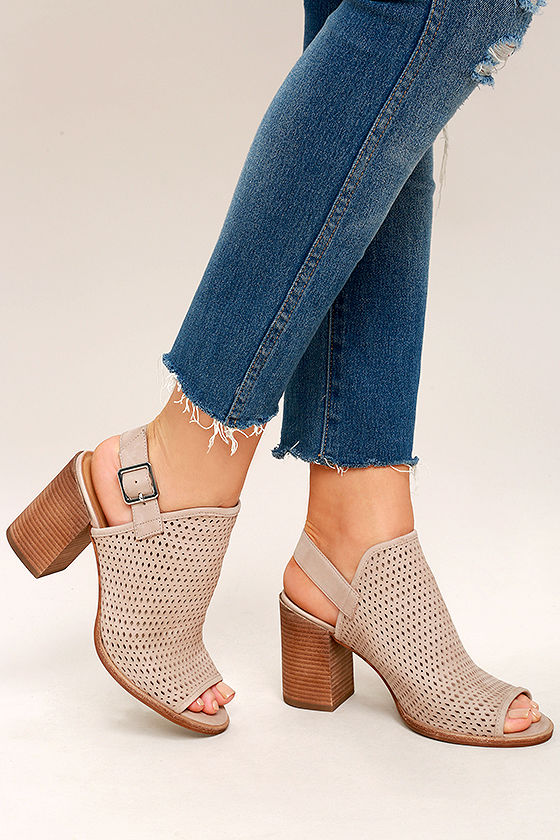 Steve Madden Neptune Ice Taupe Nubuck Leather Cutout Booties 2