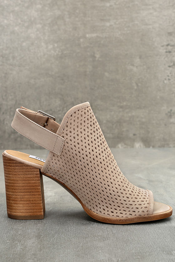 Steve Madden Neptune Ice Taupe Nubuck Leather Cutout Booties 4