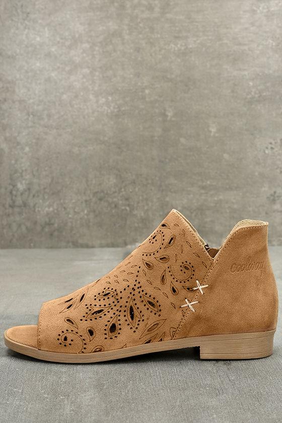 Coolway Nelia Cognac Suede Leather Cutout Peep-Toe Booties 1