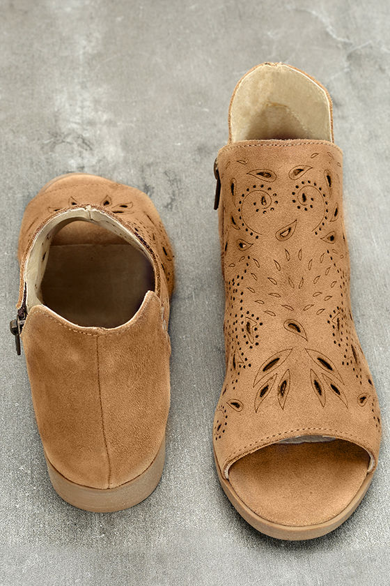 Coolway Nelia Cognac Suede Leather Cutout Peep-Toe Booties 3