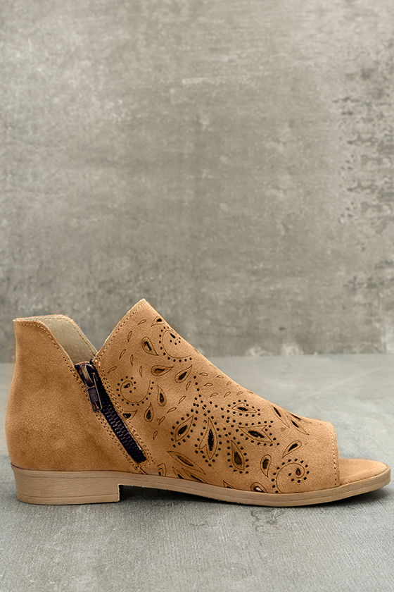 Coolway Nelia Cognac Suede Leather Cutout Peep-Toe Booties 4